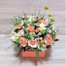 Композиция из кустовых роз, гвоздики и альстромерии | Купить Композиция из кустовых роз, гвоздики и альстромерии